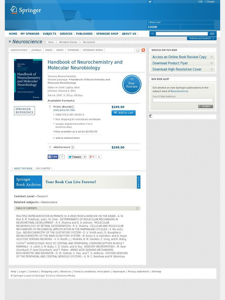 The website 'http://www.springer.com/biomed/neuroscience/book/978-0-387-30349-9' courtesy of @Pinstamatic (http://pinstamatic.com)
