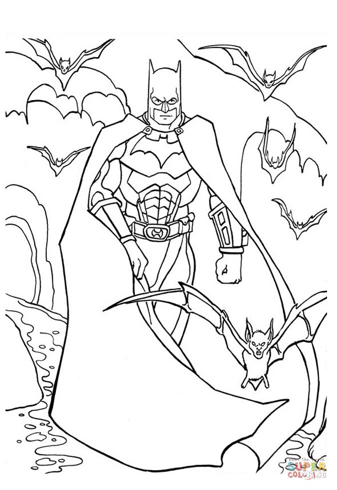 Batman With Bats Batman Coloring Pages