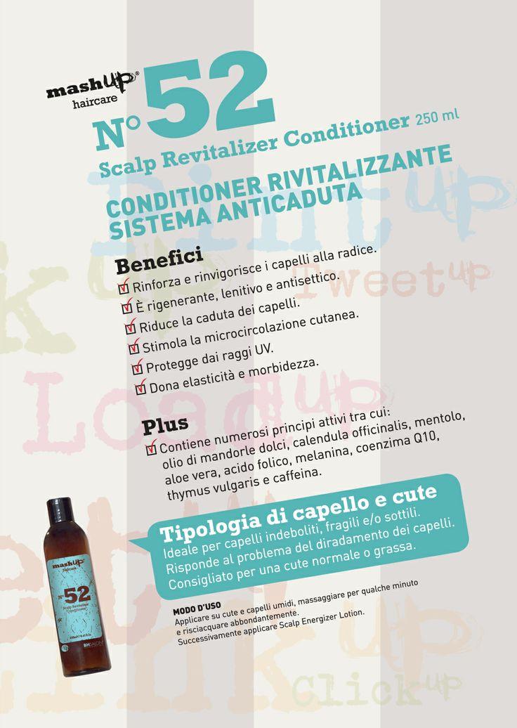 Mashup Haircare N°52Scalp Revitalizer Conditioner, rinforza e rinvigorisce i capelli alla radice. È rigenerante, lenitivo e antisettico. Ideale per capelli indeboliti, fragili e/o sottili. Risponde al problema del diradamento dei capelli. Consigliato per una cute normale o grassa.