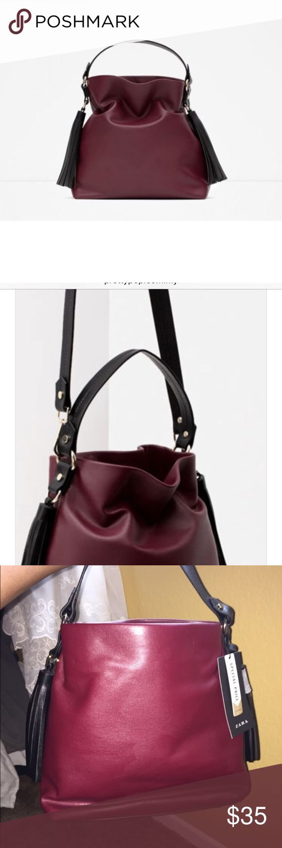 NWT Zara Handbag NWT Zara Handbag  in the color of burgundy. Has s drawstring. Medium sized. Zara Bags Shoulder Bags