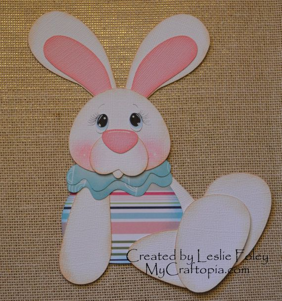 Side Sitting Bunny Easter Premade Scrapbooking by MyCraftopia, $4.95