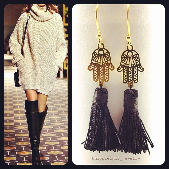 Hamsa  Earrings with tassels