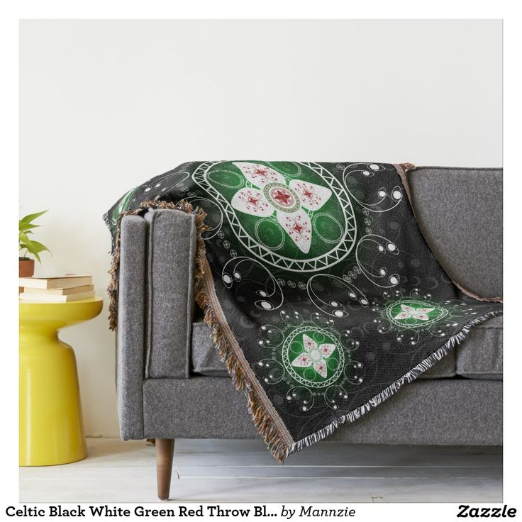 Celtic Black White Green Red Throw Blanket #Celtic #ThrowBlanket