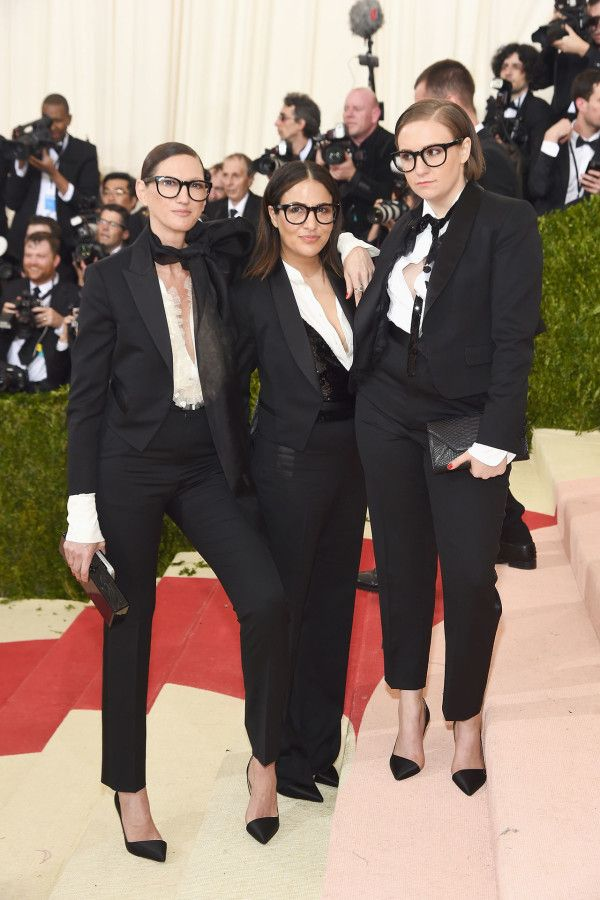 Jenna Lyons, Jenni Konner and Lena Dunham were the most adorable crew in coordinating suits at the Met Gala.