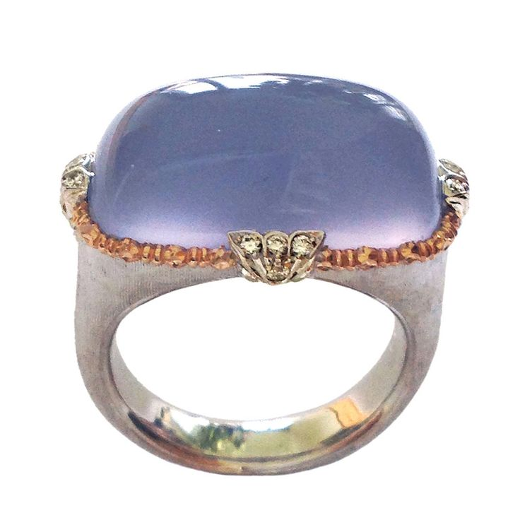 Dalben Namibian Chalcedony Diamond Gold Ring | From a unique collection of vintage cocktail rings at https://www.1stdibs.com/jewelry/rings/cocktail-rings/