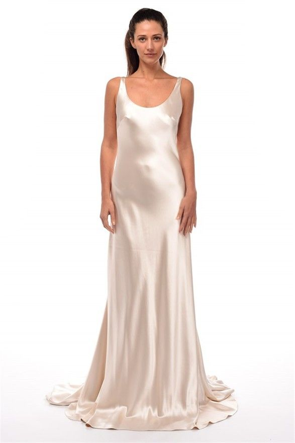 johanna johnson ivory silk satin sleeveless sheath gown size 6 sample our price