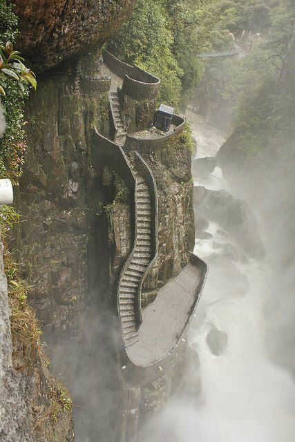 Stairs vanishing into the mist in #Ecuador. #Travel http://nexttrip.com/tour/machu-picchu-and-galapagos-tour