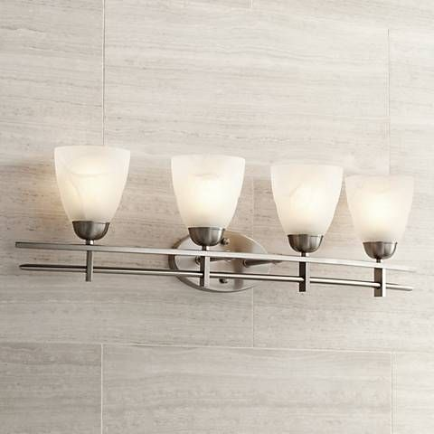 Photographic Gallery Deco Nickel Collection Wide Bathroom Light Fixture