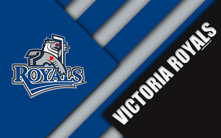 Download wallpapers Victoria Royals, WHL, 4K, Canadian Hockey Club, material design, logo, blue black abstraction, Victoria, Canada, Western Hockey League