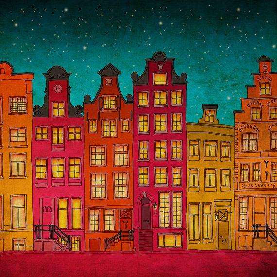 Amsterdam  Amsterdam art illustration print  by Anietillustration, €12.50