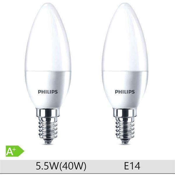 Set 2 becuri LED lumanare Philips 6W (40W), E14, 15000 ore, lumina calda