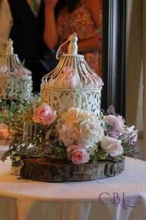 CBL Floral Design, Barrie, ON - Wedding Party Florals/Bridal Party Bouquets/ Wedding Flowers/ Bridal Bouquets - #weddingbouquets #bridalbouquets #weddingpartyflorals #weddingflowers #handtiedbouquets #cblfloraldesign #weddingphotographer #floraldesigner www.cblfloraldesign.ca Birdcage with roses and hydrangeas - Brad and Janelle's  Gallery at www.cblfloraldesign.ca