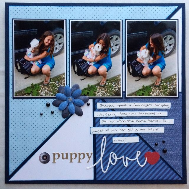 Creative Memories Denim Blues collection, Sketch challenge at Creative Scrappers #scrapbook #pets