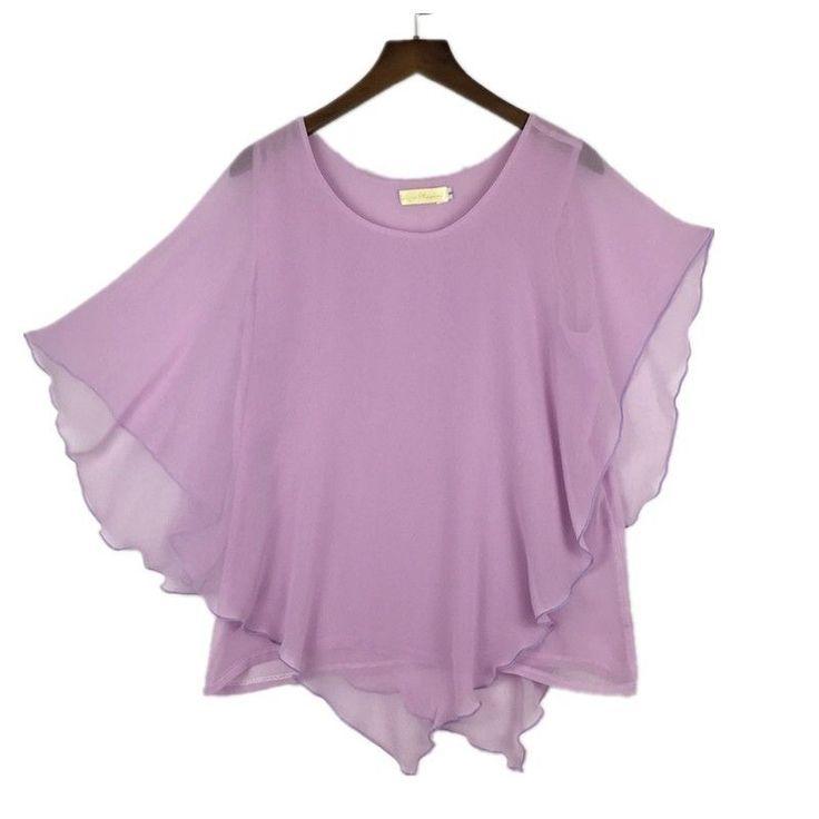 Plus size S-6XL Ladies Chiffon Blouses Batwing Asymmetric Sleeves Lavender Shirt #Unbranded #Blouse #Casual