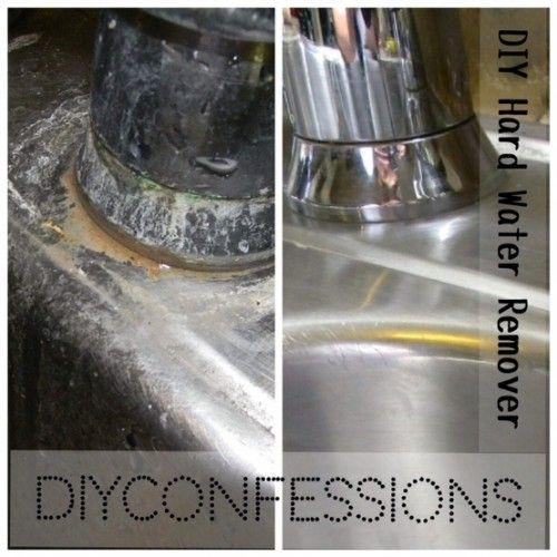 Duro removedor de agua - 1/2 botella de spray de vinagre blanco, 1/4 taza de jugo de limón, 1/2 botella de spray de jabón para lavar platos. Rocíe, deje en remojo, frotar apagado. Use bicarbonato de sodio para los depósitos de agua muy duros