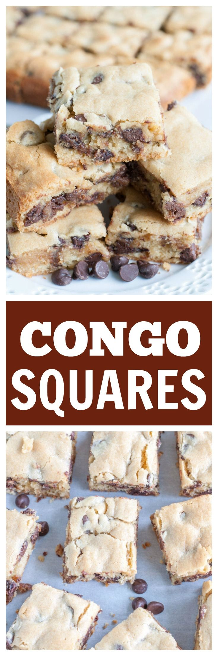 Congo Squares are cookie bars filled with chocolate chips. They are soft, chewy and a staple dessert in our family.|Congo Bars|Congo Squares| Chocolate Chip Cookie