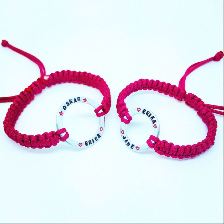 These are beautiful handmade, hand stamped and finished bracelets. Matching bracelets for Mum and Daughter. You can choose what colour cord you have and also names, dates or words/ phrases can be personalised, space permitting. This would make a lovely Valentines, Mothers Day or Birthday present. Made from Aluminium and Nylon cord.