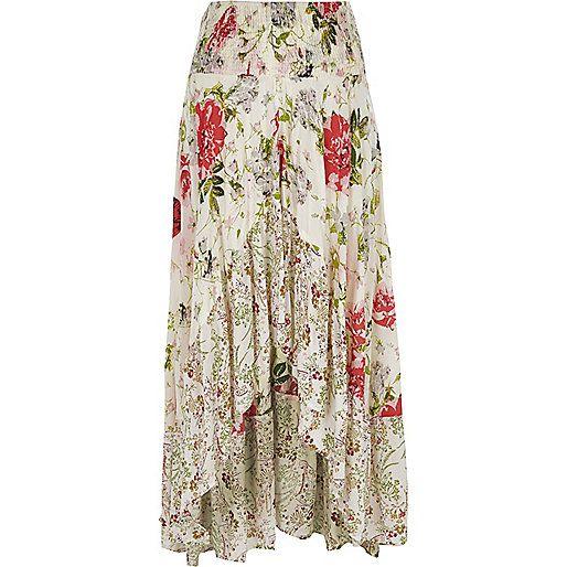 Weißer, asymmetrischer Rock mit Blumen und Pailletten - Maxiröcke - Röcke - Damen