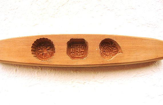 Vintage Kashigata Sweets Mold Double Happiness Congratulations Flower  Double Sided Leaf MED