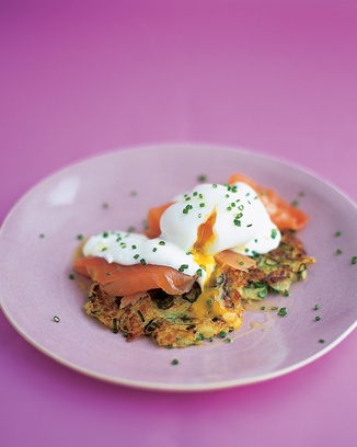 potato cakes with smoked salmon. Possibly use different recipe for potato pancake as these came out soggy. Make sure cake is crunchy. Poach the egg rather than soft boiled. 4.5