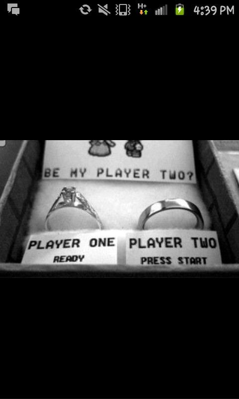 Super cute way for couples who are gamers to propose or announce their engagment.