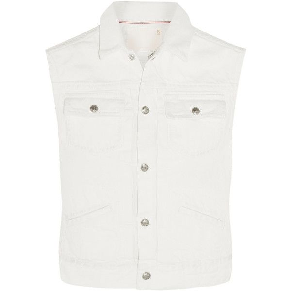 R13 Denim vest (10.754.990 VND) ❤ liked on Polyvore featuring outerwear, vests, white, vest waistcoat, white waistcoat and white vest