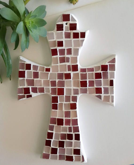 mosaic red pink cross, Cross for girl's bedroom, 17e