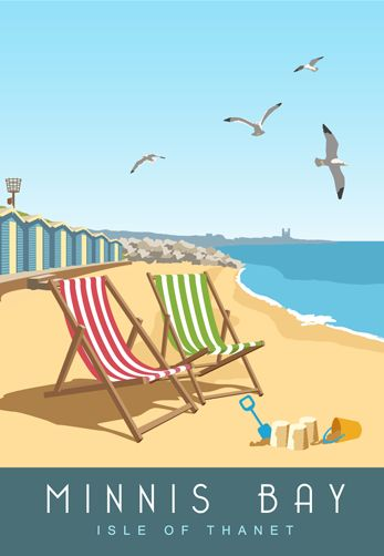 Minnis Bay, Isle of Thanet. A couple of deck chairs and a beach hut, that's summer! This print starts at £12 for an A4 from www.whiteonesugar.co.uk