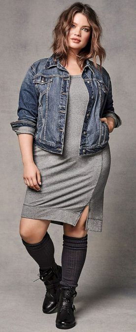 I have a grey dress with a blue jean jacket that would work like this.