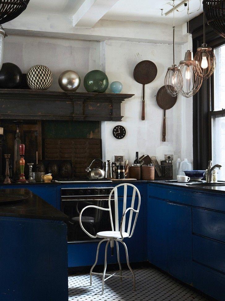 unusual blue kitchen