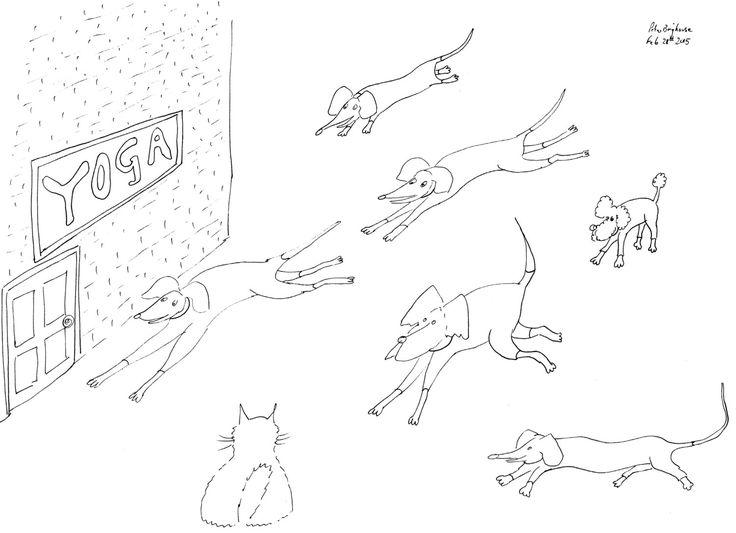 Dogs Rush To Yoga #colouringInAsTherapy black n white monochrome - Digital Download .jpeg .jpg by MrSquimpsCatShop on Etsy