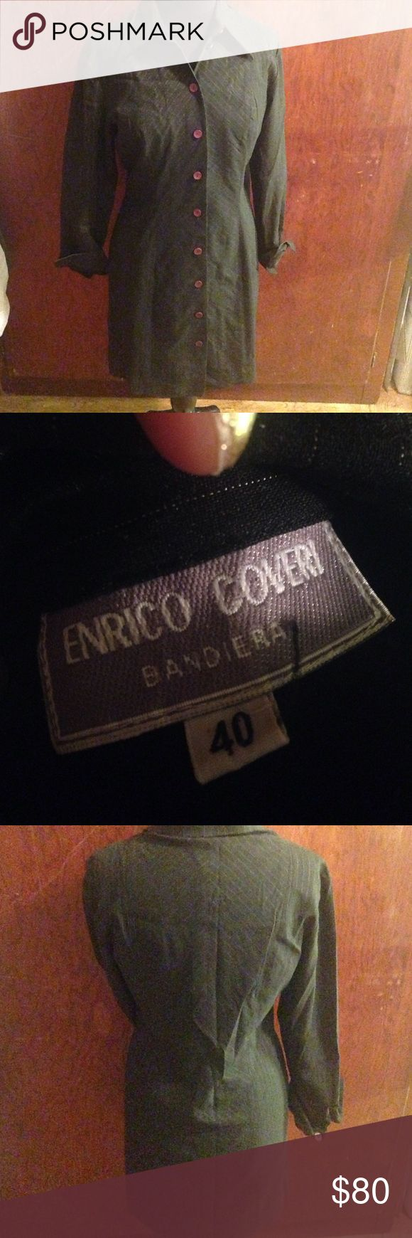 Enrico Coveri Bandiera Dress Jacket Blazer This is a vintage piece from Italian designer enrico coveri. Size 40 on the tag which is around a size 10 US Ladies size. This is a jacket Blazer that is dress length. You may wear it over a dress but also could wear it as a dress. It reminds me of what Wednesday Addams would wear in a grown up job. The buttons are brown and the jacket is pinstriped. Enrico Coveri Jackets & Coats Trench Coats