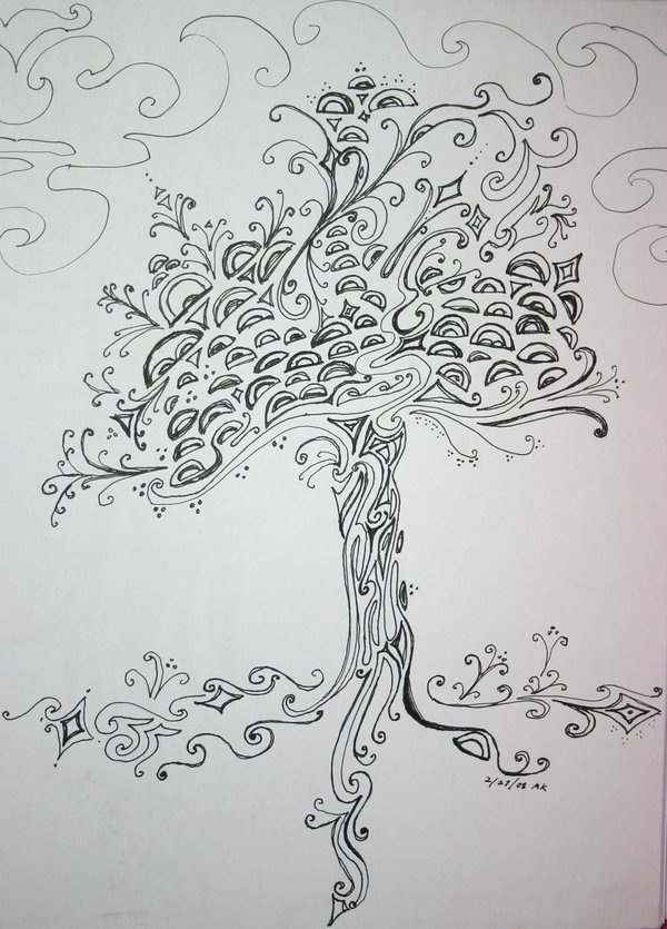Doodle:   inspirational doodle...... love this tree..... seems other worldly to me.