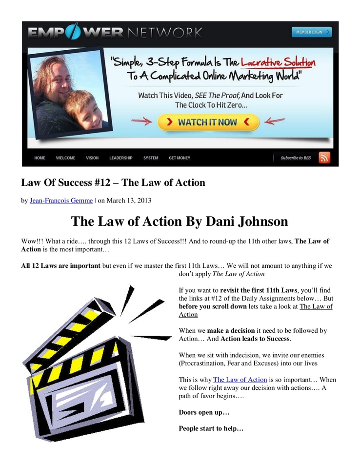 law-of-success-12-the-law-of-action-by-dani-johnson by Jean-Francois Gemme via Slideshare