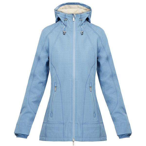 Ilse Jacobsen Rain62 Moonstone Blue Waterproof Softshell Raincoat ($110) ❤ liked on Polyvore featuring outerwear, coats, blue, hooded coat, water proof coat, blue raincoat, hooded raincoat and mac coat