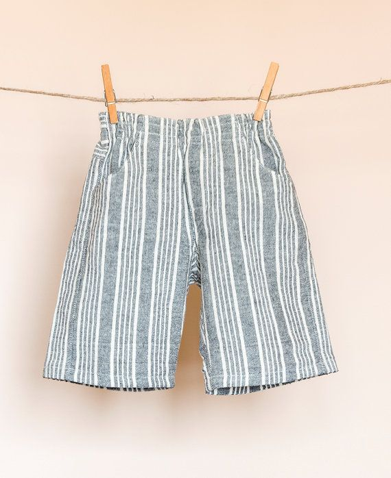 Boys' shorts linen with grey stripes pockets by TheElfShopDesigns