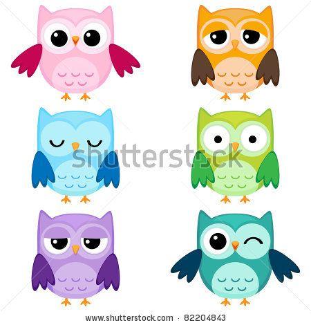 : Set of six cartoon owls