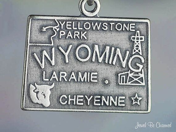 Wyoming Charm Sterling Silver State America USA by jewelbecharmed
