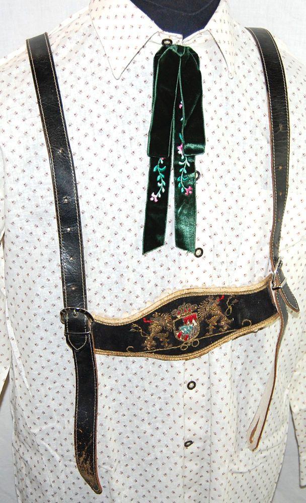 alte Trachtenhosenträger H - Träger Trachten Hosenträger Handarbeit bis 100cm