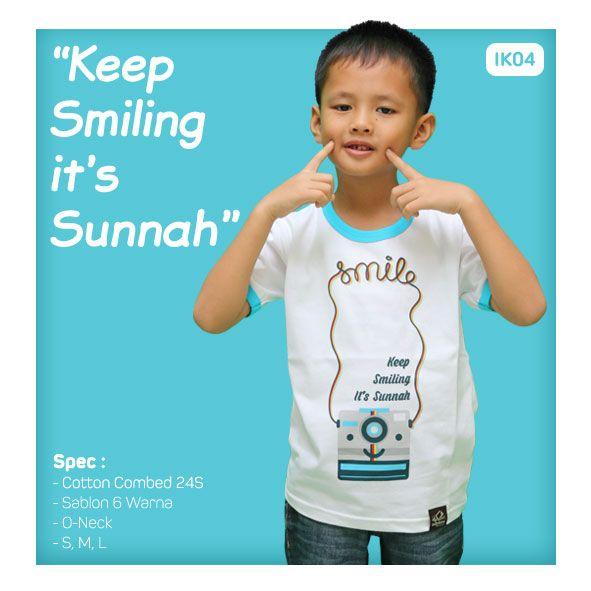 Kaos Anak Muslim Bilhikma IK04 Tema : Keep Smiling It's Sunnah