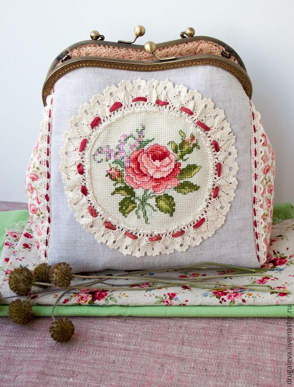 Купить Сумка с фермуаром Английская Роза - сумочка на цепочке, сумочка с фермуаром, сумочка вечерняя