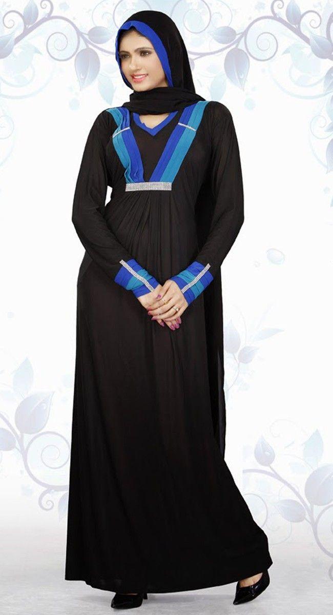 Alluring Black And Blue Color Designer Abaya
