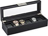 #4: Watch Box for Men  6 Slot Luxury Carbon Fiber Design Mens Display Case Large HolderMetal Buckle -Black