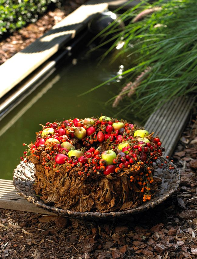 Autumn flower cake/wreath with little apples, berries and fall leaves ~Krista Verwimp