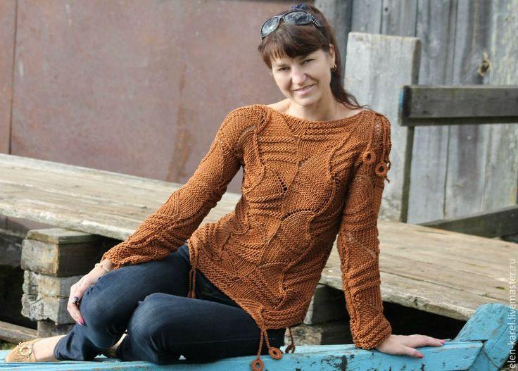 Купить Коричневое золото хлопковый свитер Подснежник - коричневый, однотонный, хлопковый трикотаж, хлопковый свитер