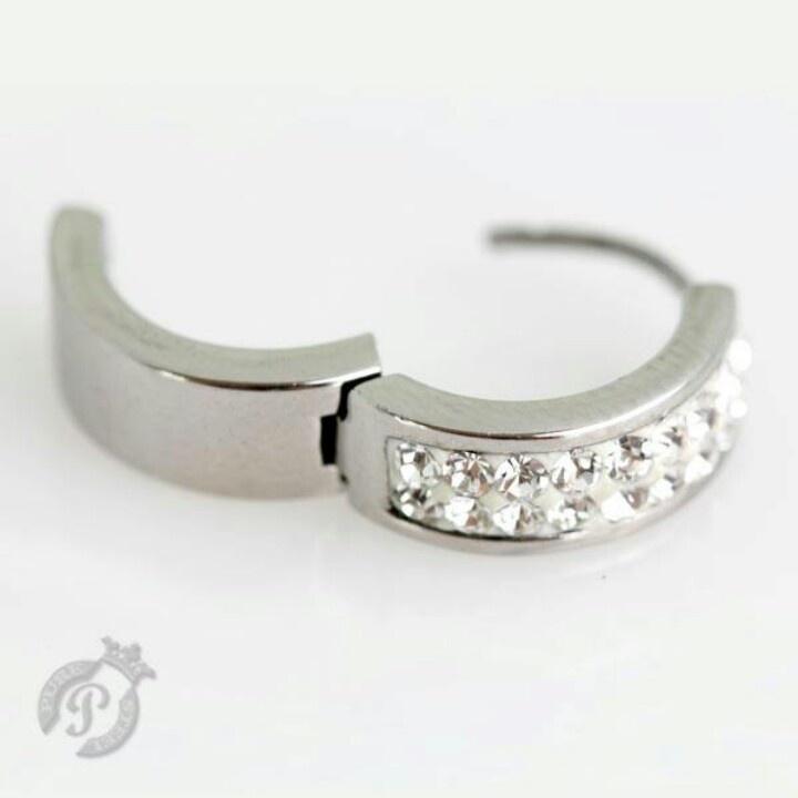 Crystal and steel earrings