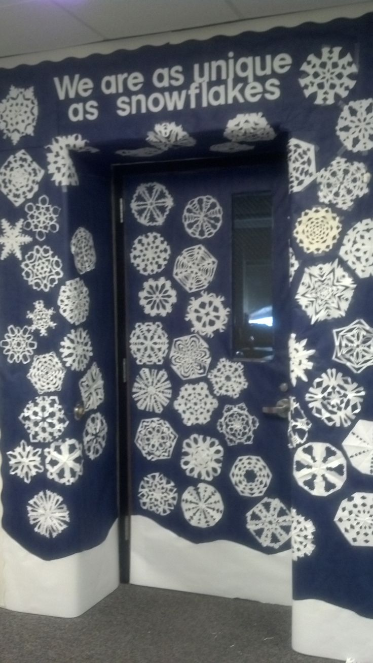 January classroom door decoration ideas - Unique As Snowflakes Classroom Door January Celebrating Diversity Students Cut Their Own Snowflakes Their Pictures Cut Round To Fit Will Go On The Center