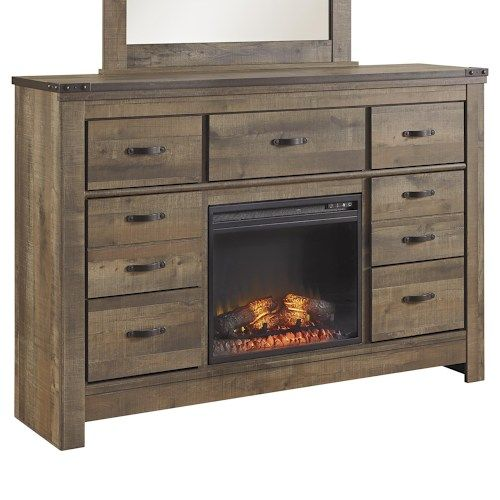 Signature Design by Ashley Trinell Rustic Look Dresser with Fireplace Insert & Top Metal Banding