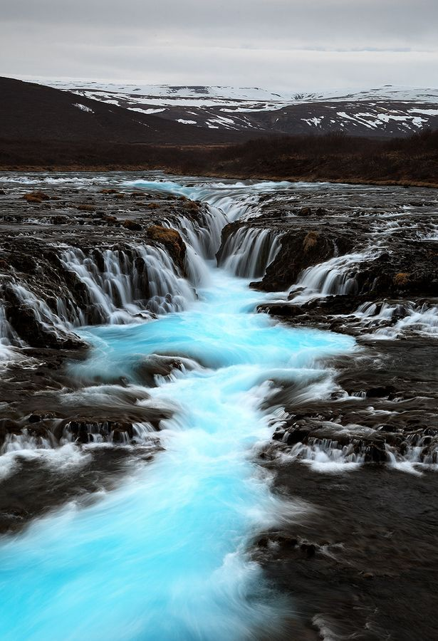 Turquoise River, Brúárfoss, Iceland   - Just WOW!  Could you imagine getting caught in that churn?! Yikes!