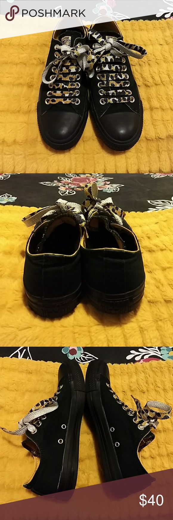 Converse Shoes Women's Converse shoes, black on black with gold accents.  Size 9.  I wore these a lot, still in good condition. Converse Shoes Sneakers
